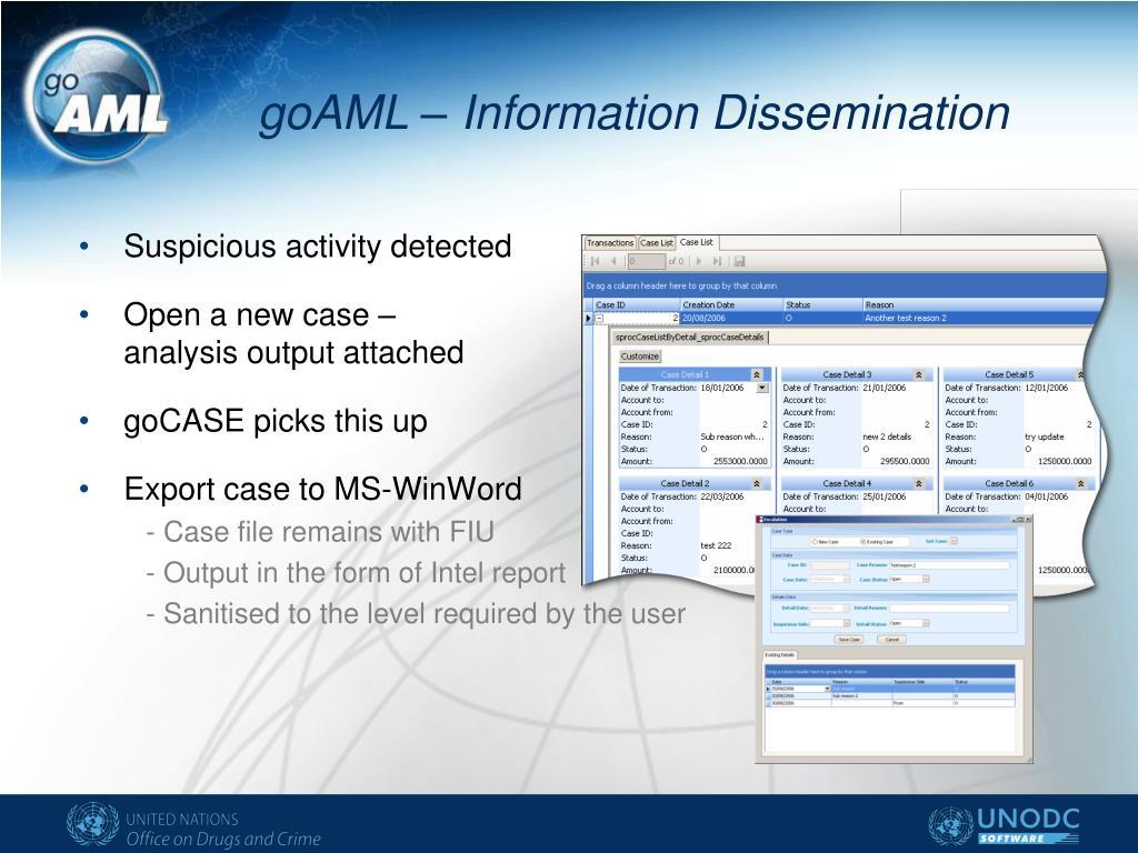 goAML – Information Dissemination