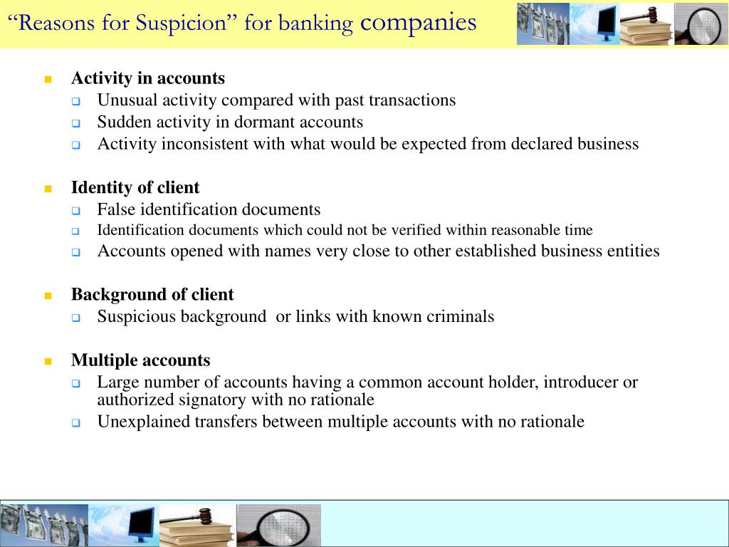 """Reasons for Suspicion"" for banking"