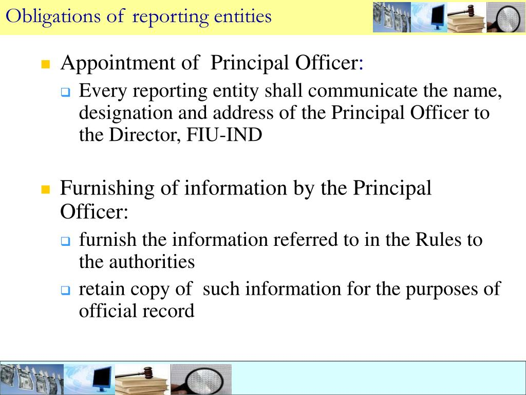 Obligations of reporting entities