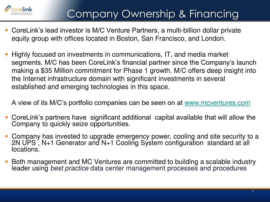 Company Ownership & Financing