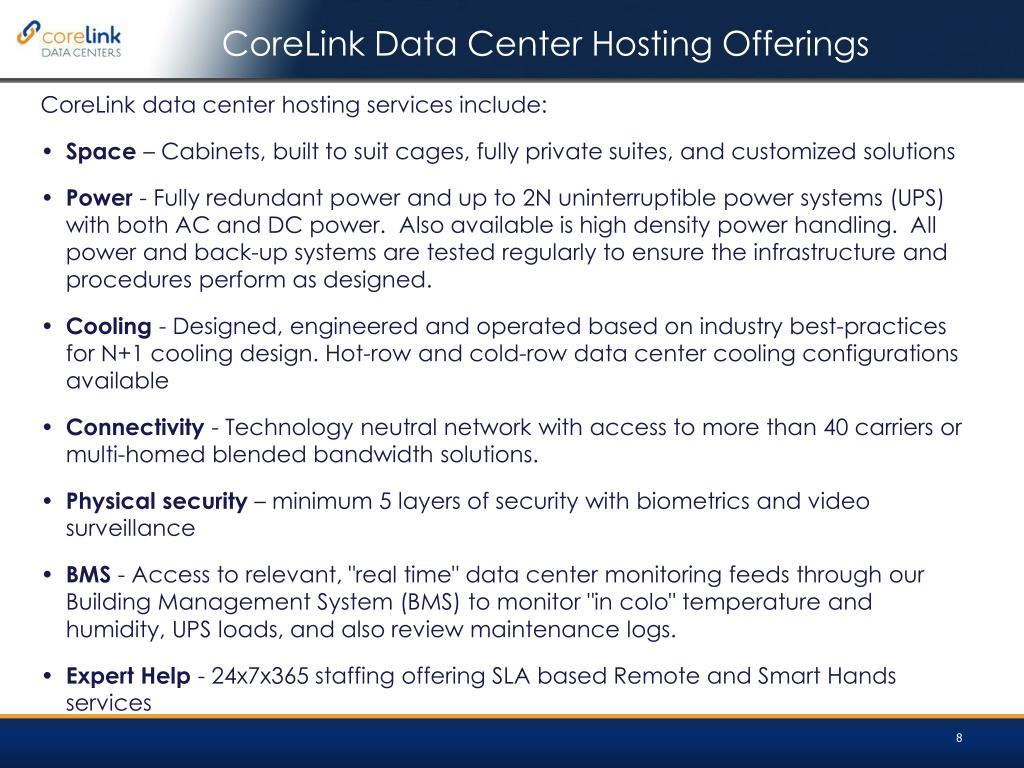 CoreLink Data Center Hosting Offerings