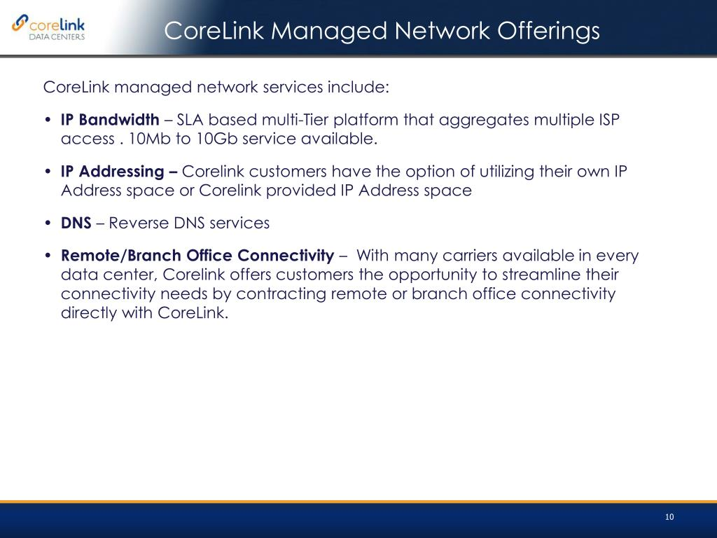 CoreLink Managed Network Offerings