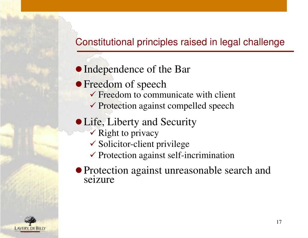 Constitutional principles raised in legal challenge