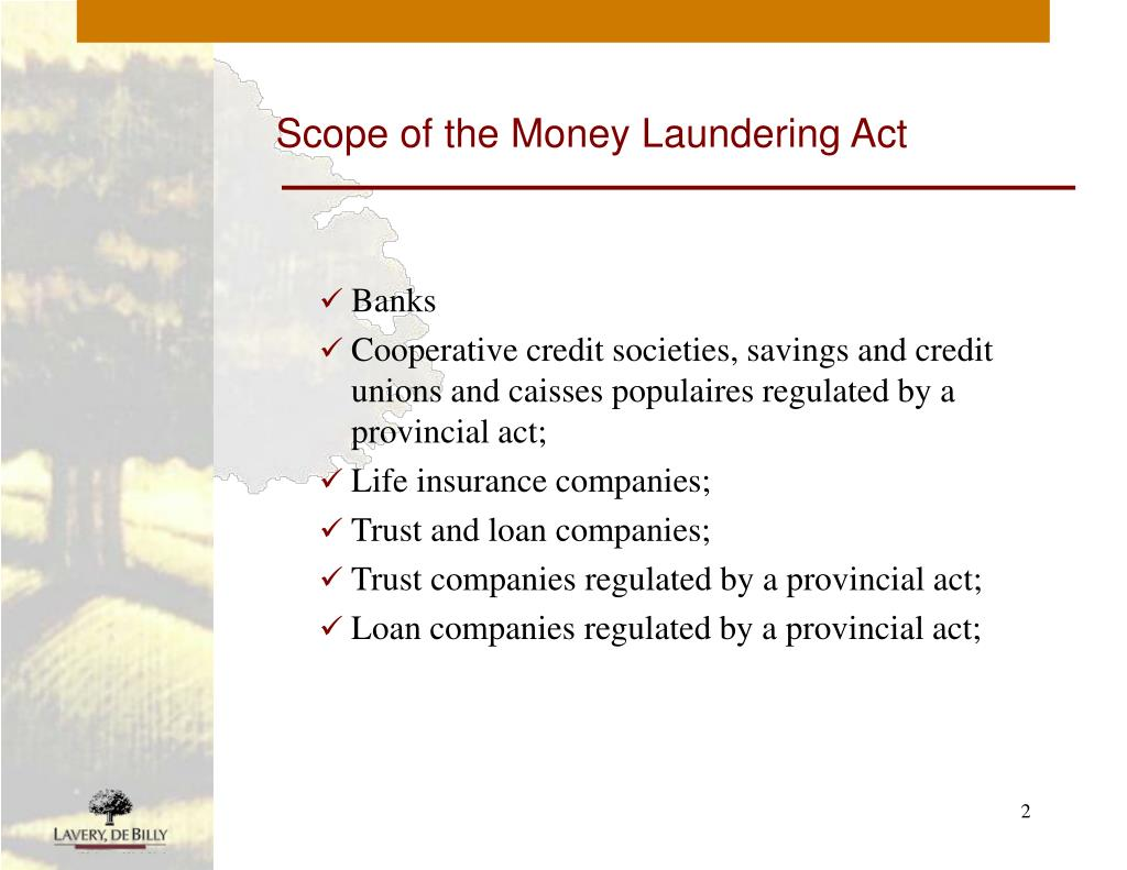 Scope of the Money Laundering Act