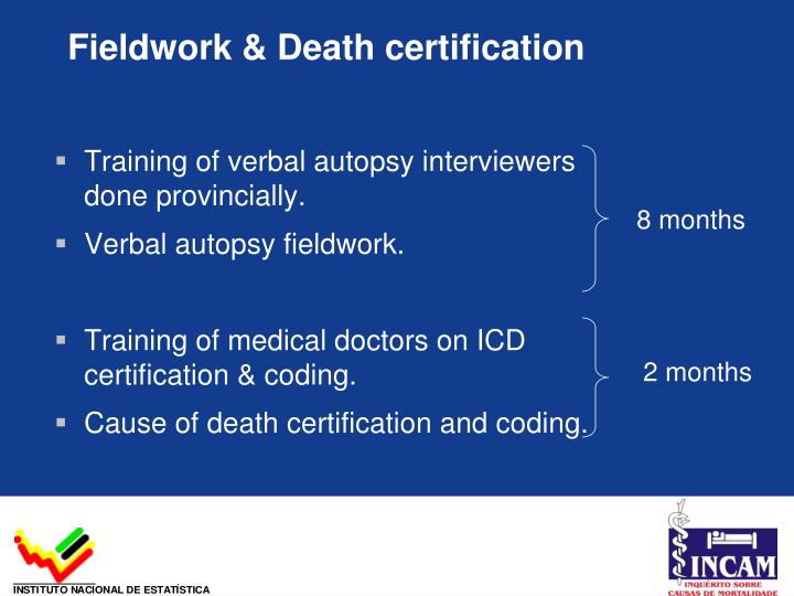 Fieldwork & Death certification