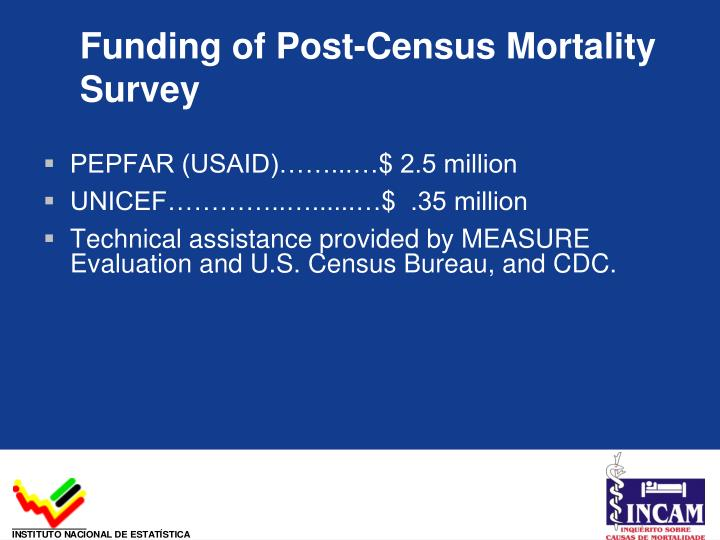 Funding of Post-Census Mortality Survey