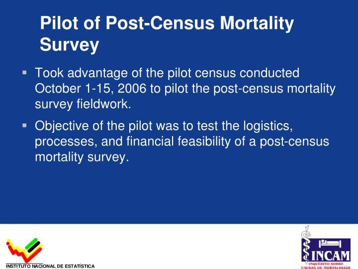Pilot of Post-Census Mortality Survey
