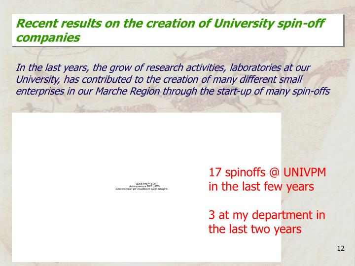 Recent results on the creation of University spin-off companies