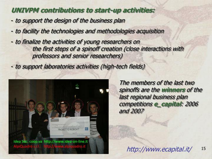 UNIVPM contributions to start-up activities: