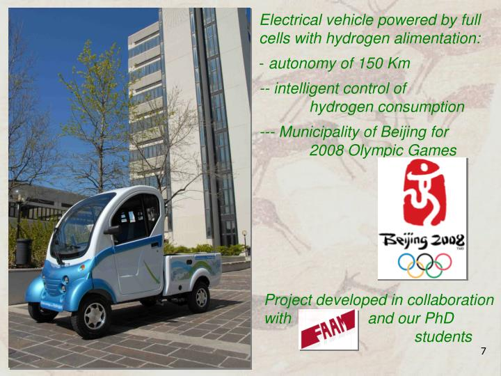 Electrical vehicle powered by full cells with hydrogen alimentation: