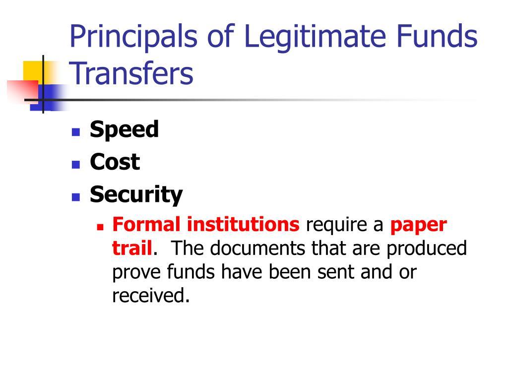 Principals of Legitimate Funds Transfers