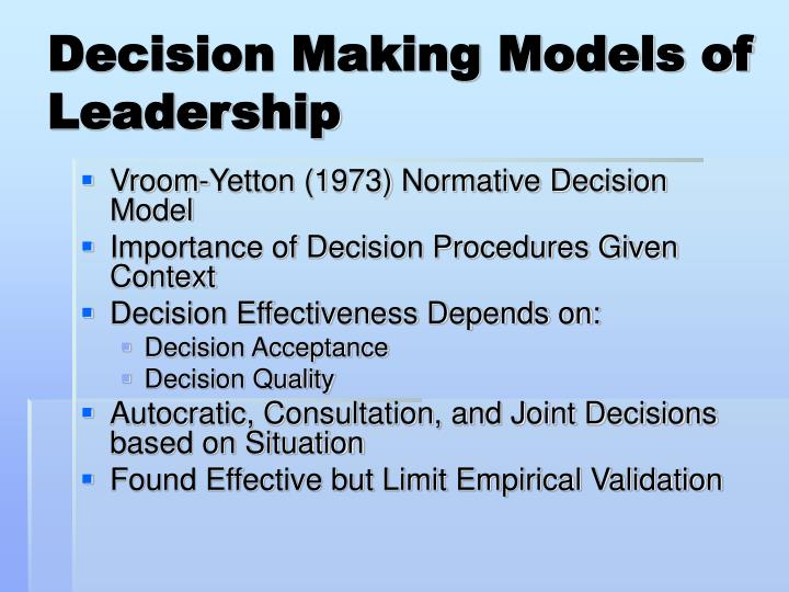 Decision Making Models of Leadership