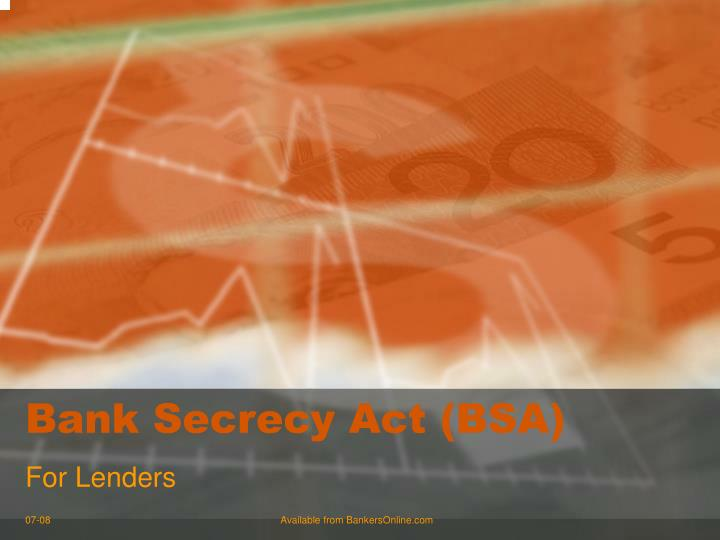 Bank secrecy act bsa