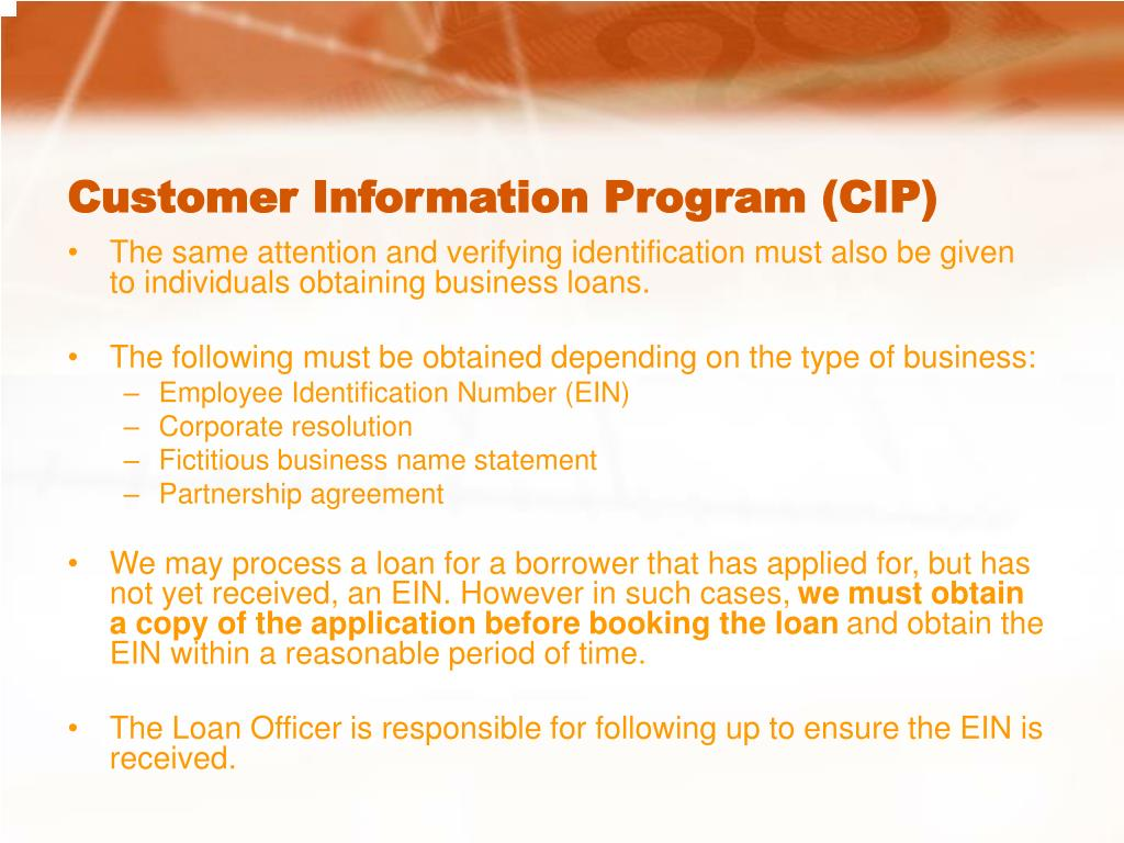 Customer Information Program (CIP)