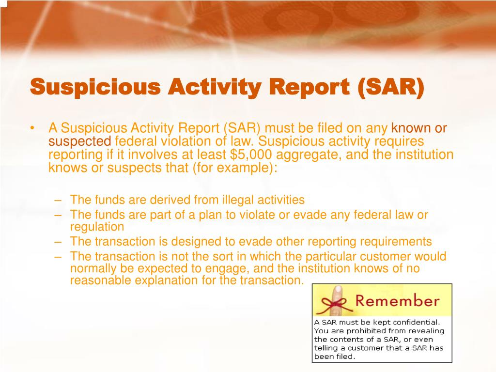 Suspicious Activity Report (SAR)