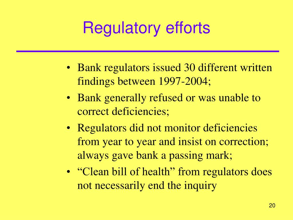 Regulatory efforts