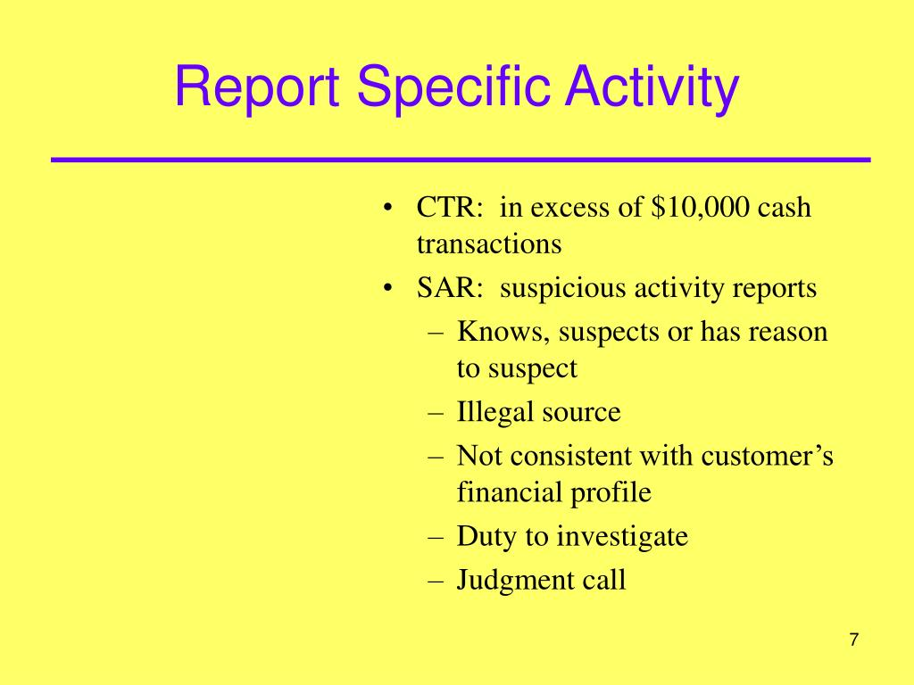 Report Specific Activity