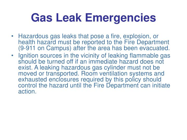 Gas Leak Emergencies