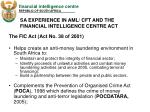 sa experience in aml cft and the financial intelligence centre act