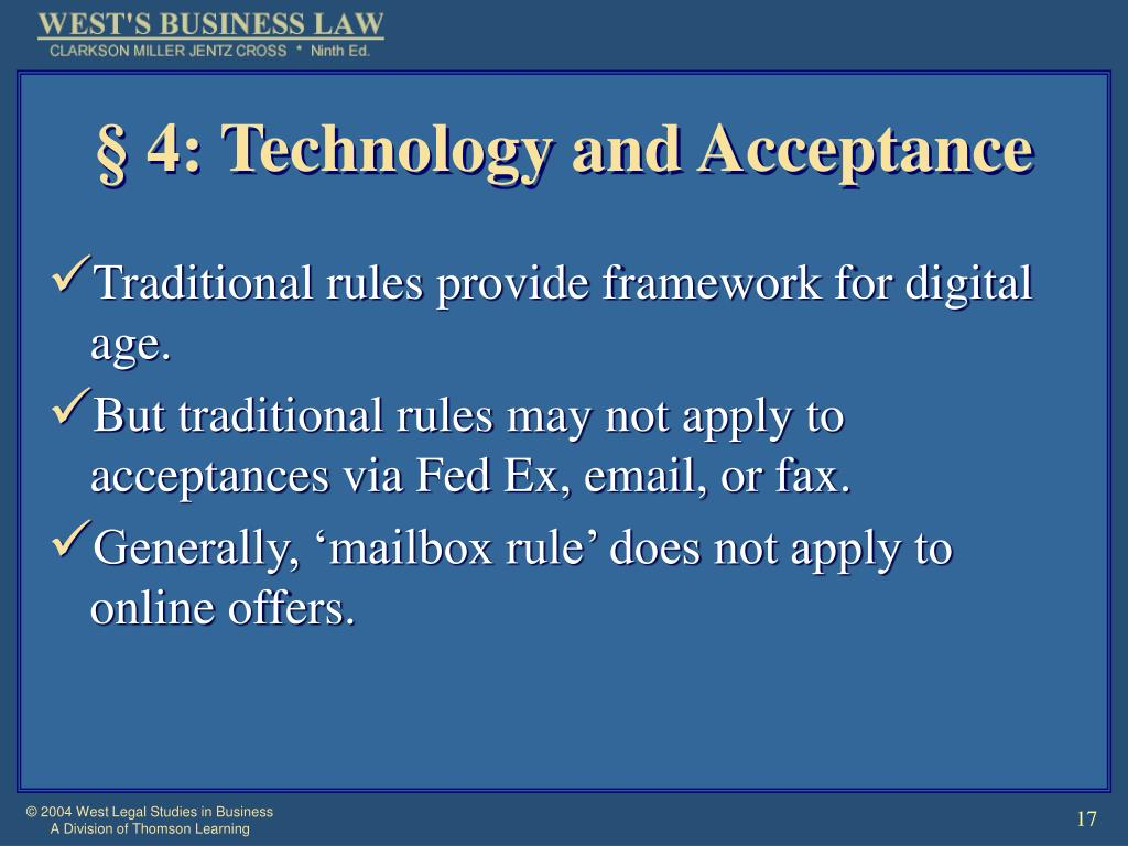 § 4: Technology and Acceptance