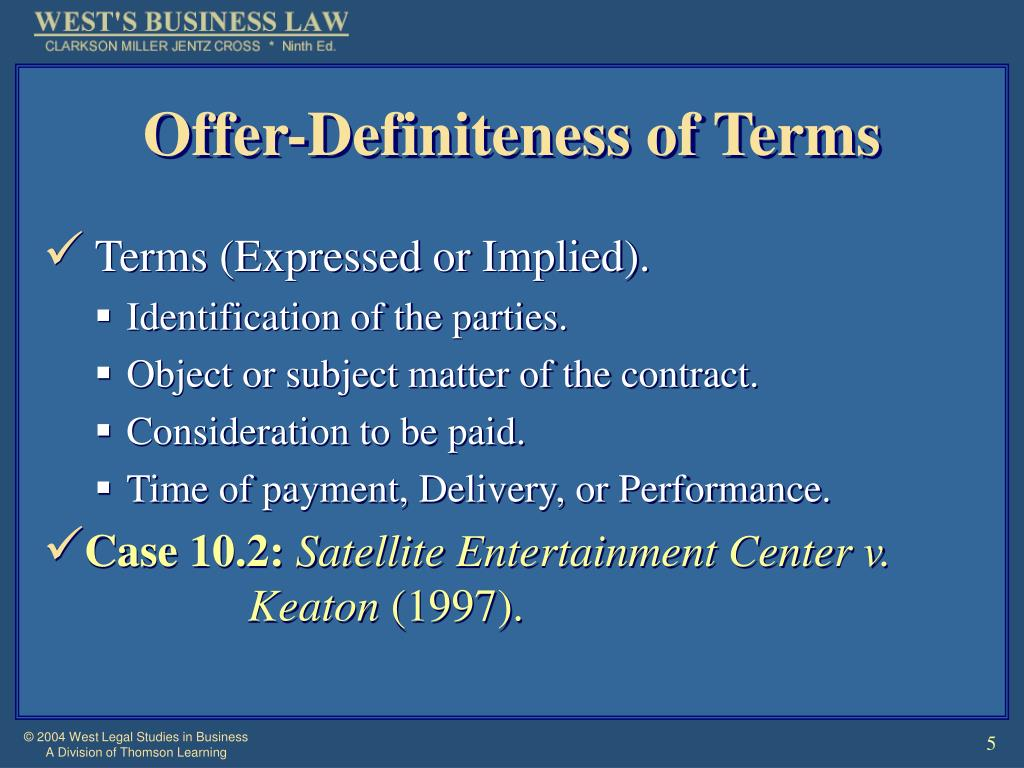Offer-Definiteness of Terms