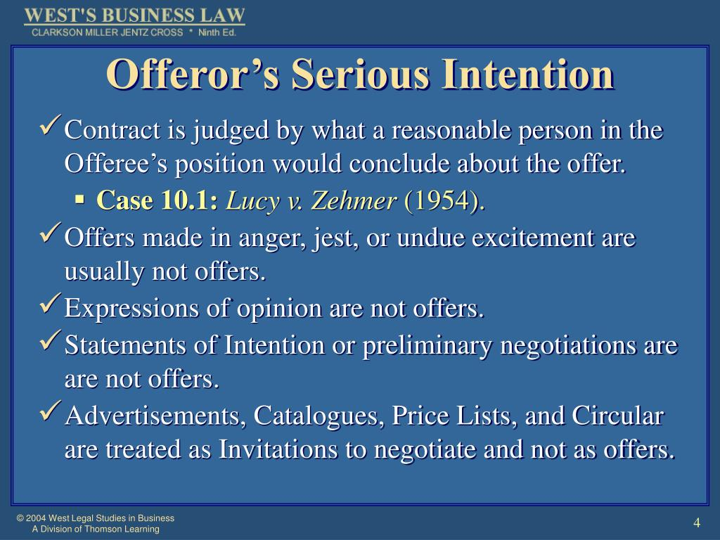 Offeror's Serious Intention