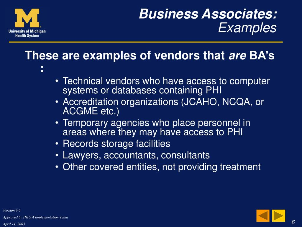 These are examples of vendors that