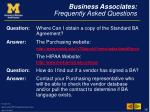 business associates frequently asked questions