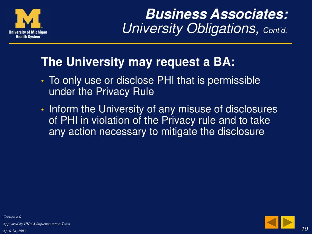 The University may request a BA: