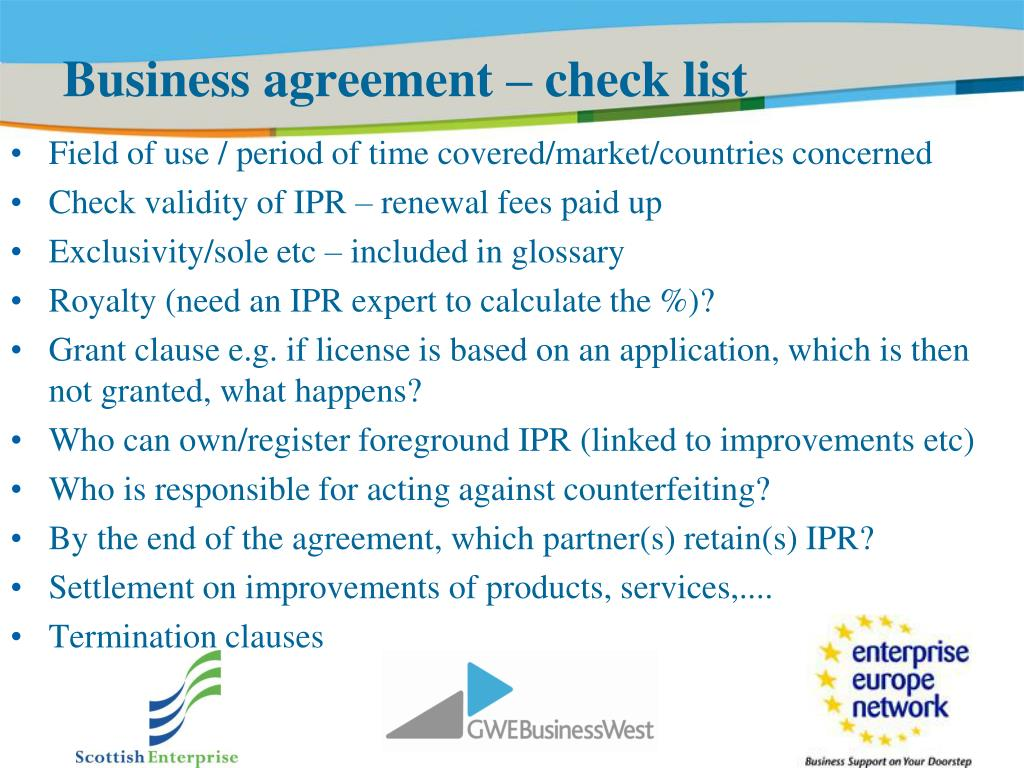 Business agreement – check list