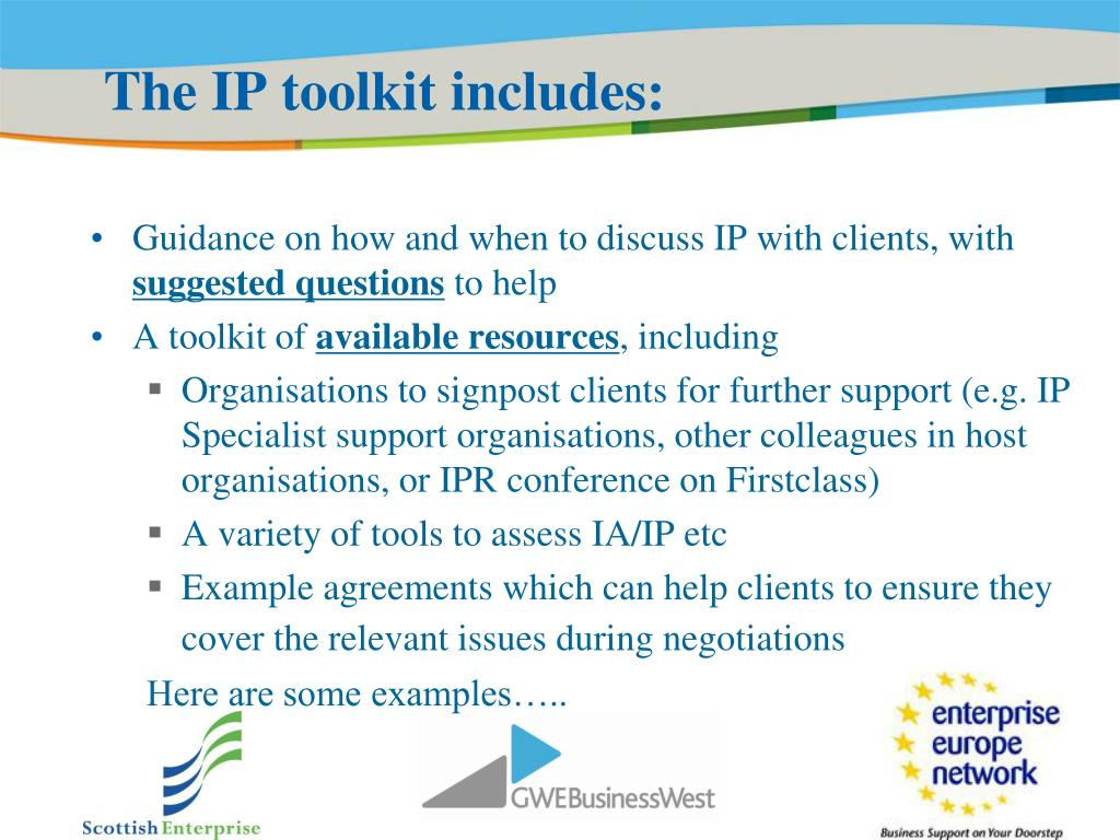 The IP toolkit includes: