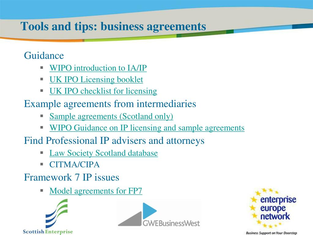 Tools and tips: business agreements