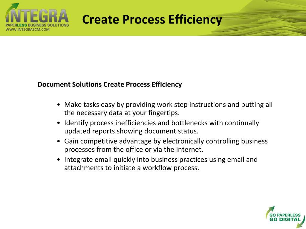 Create Process Efficiency