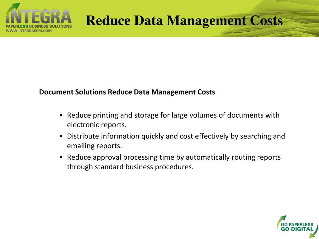 Reduce Data Management Costs