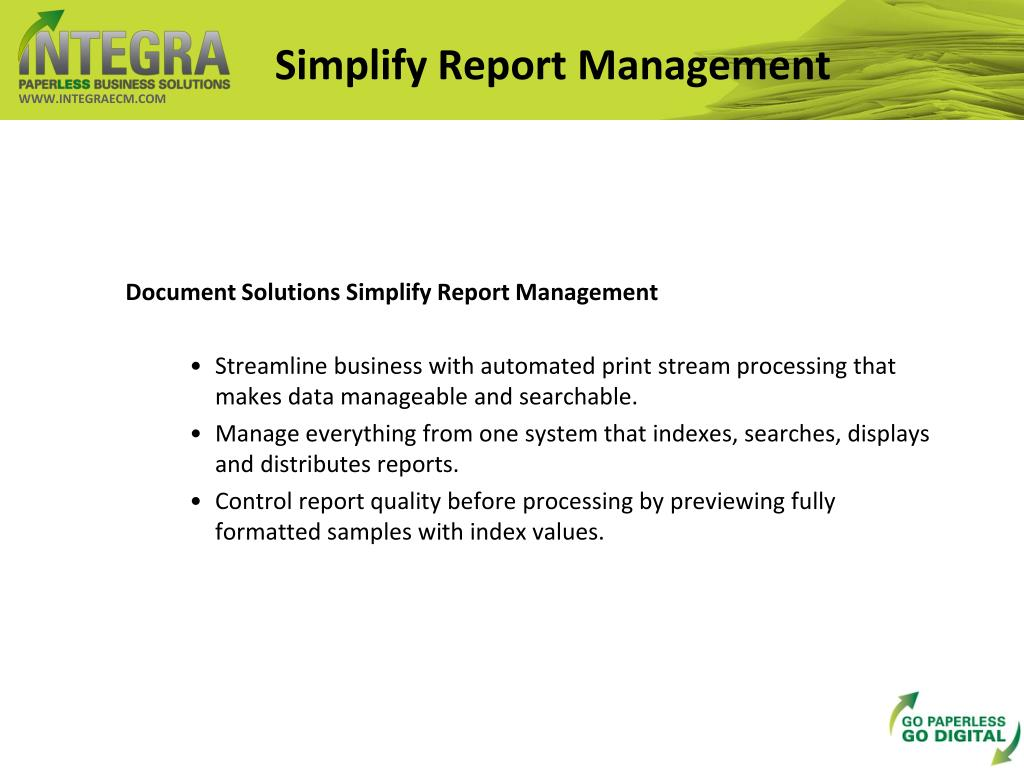 Simplify Report Management