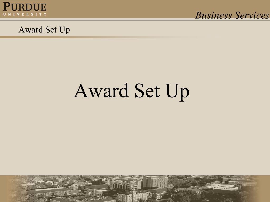 Award Set Up
