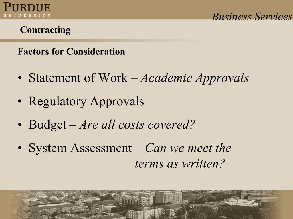 Statement of Work –