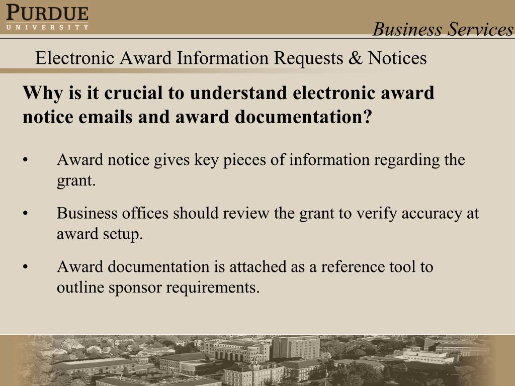 Electronic Award Information Requests & Notices