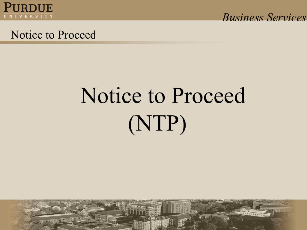 Notice to Proceed