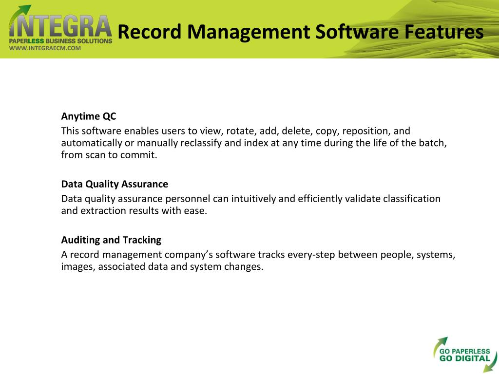 Record Management Software Features