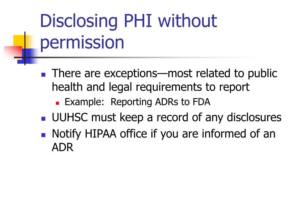 Disclosing PHI without permission
