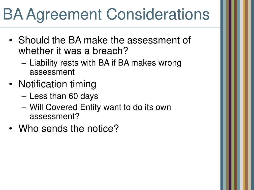 BA Agreement Considerations