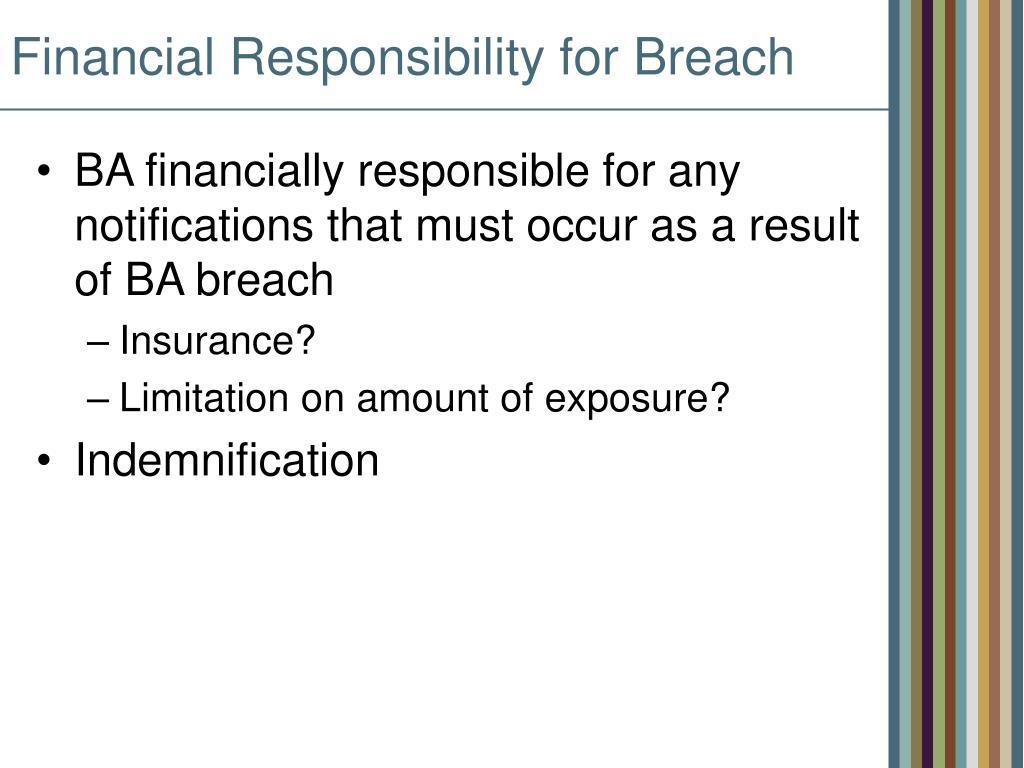 Financial Responsibility for Breach