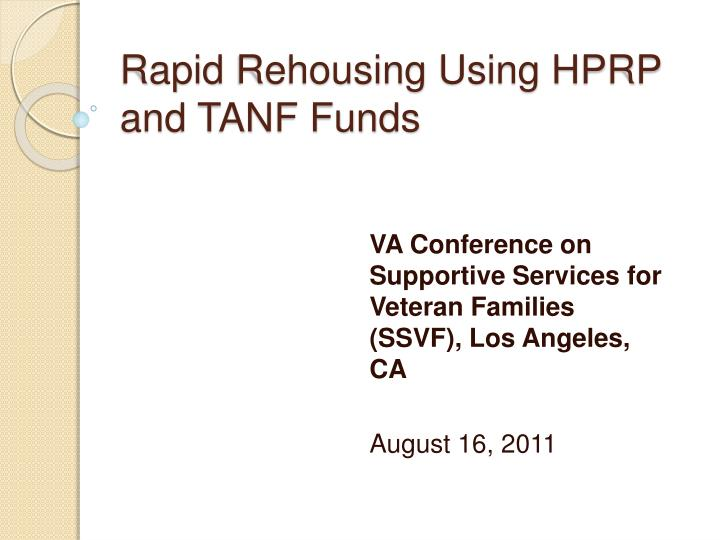 Rapid rehousing using hprp and tanf funds
