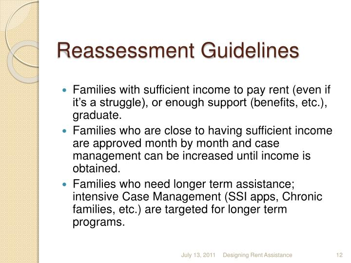 Reassessment Guidelines