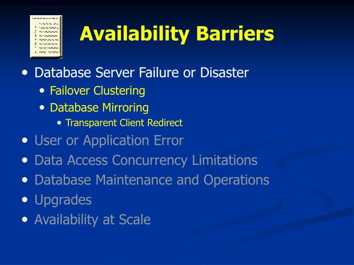 Availability barriers1