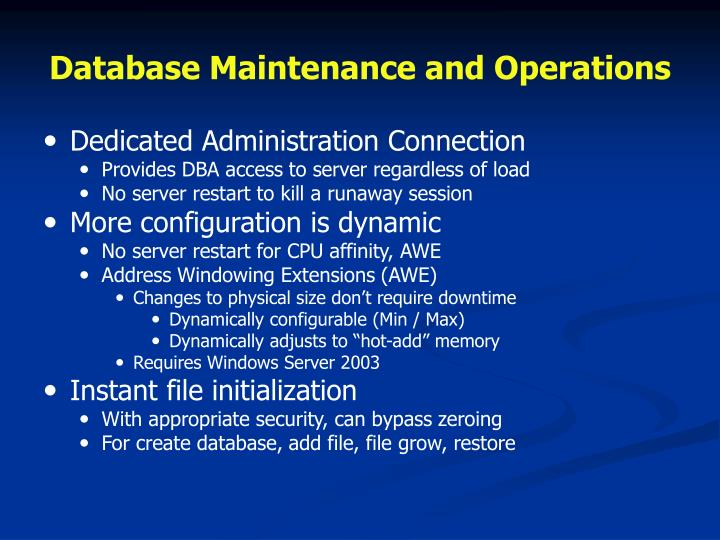 Database Maintenance and Operations