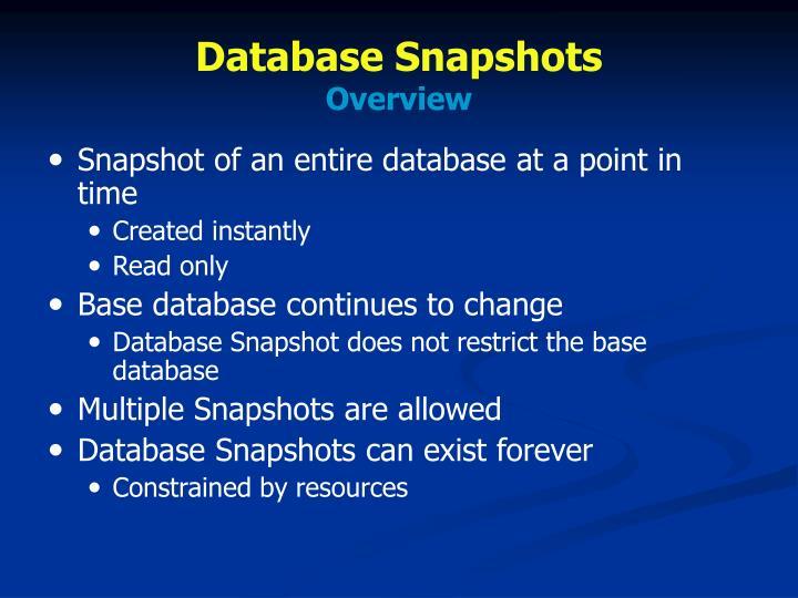 Database Snapshots