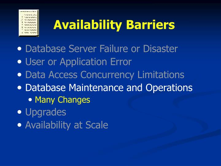 Availability Barriers