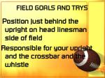field goals and trys
